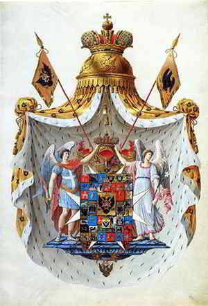 Первый рисунок Большого герба Российской империи образца 1800 года.